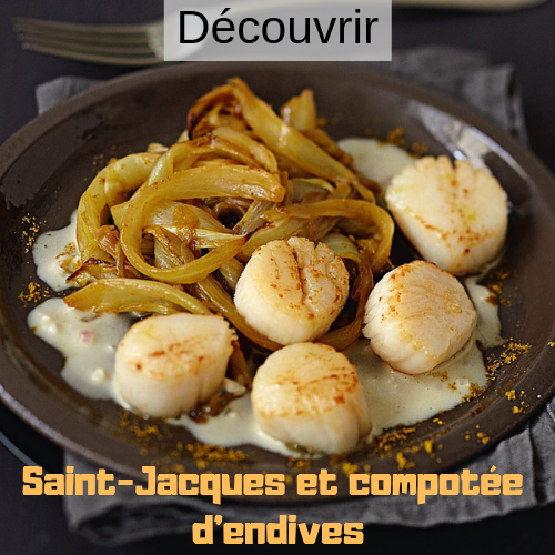 Saint jacques et compotee d endives
